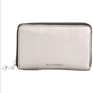 ALEXANDER MCQUEEN metallic zip around wallet